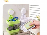 Strong Suction Wall Double Soap Dish Holder