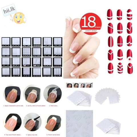 Pack of 18 Sheet French Manicure Nail Strickers